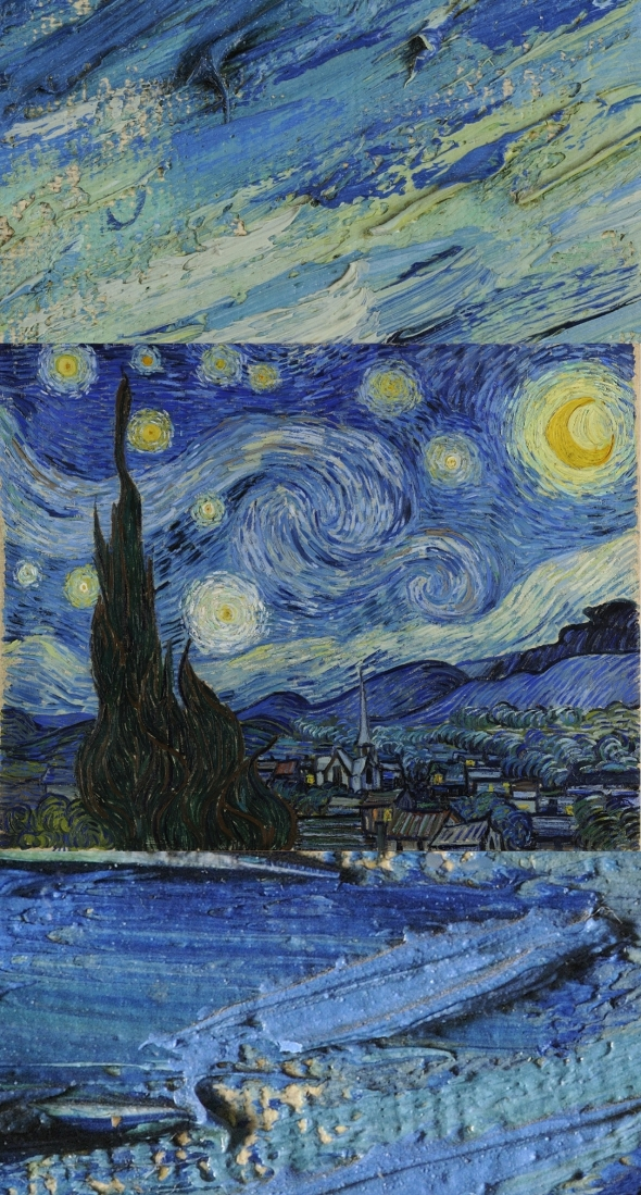 Van Gogh: The Starry Night... I added a few magnified and magnificent brush strokes to the picture... click the image and go to the link to zoom and have fun! (image source: google.com/culturalinstitute/project/art-project)