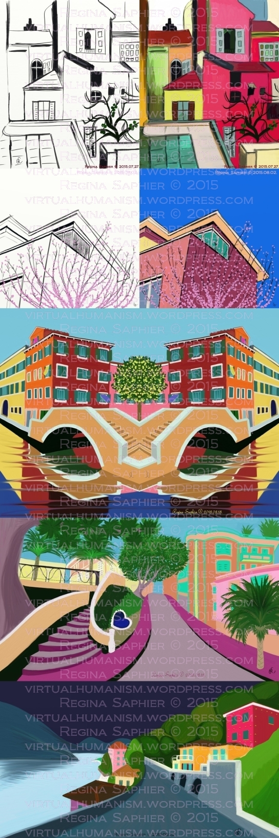 a., Remake of Róbert Berény's Monaco Painting by Regina Saphier 2015 (Freehand Digital Drawing & Freehand Digital Painting) b., 3 Sunflower Street with Cherry Blossoms by Regina Saphier 2015 (Freehand Digital Drawing & Freehand Digital Painting) c., Venice with Lemon Tree by Regina Saphier 2015 (Freehand Digital Painting) d., Monaco Rue des Iris by Regina Saphier 2015 (Freehand Digital Painting) e., Lake Como by Regina Saphier 2015 (Freehand Digital Painting)