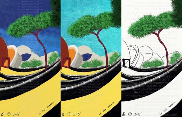 """""""Le Pin Parasol"""" avagy Mandula Fenyő Caprin Saphier Regina 2015 szabadkézi rajz és festmény, digitális médium, Pinterest-en talált fotó alapján"""