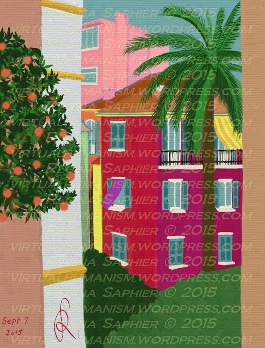 """Vizuális Update: """"The Secret Garden in Monaco"""" by Regina Saphier 2015. Szeptember 7., Szabadkézi festmény, digitális médiumon. (Ezt a festményt a helyszín megtalálása után festettem, a Rue Grimaldi felől. Megjelennek rajta: a saját világlátásom, Berény kézjegyei, és a helyszín mai állapota. A szinergia egyfajta mesevilágot nyit meg a szemlélő előtt. Bevallom, meglep, hogy 6 héttel az első festői próbálkozásom után erre vagyok képes, különösen úgy, hogy csak hétvégenként festek.)"""