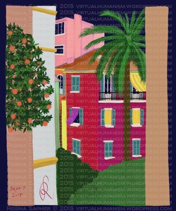 """Vizuális Update: """"The Secret Garden in Monaco"""" by Regina Saphier 2015. Szeptember 7., Éjszakai változat, szabadkézi festmény, digitális médiumon."""