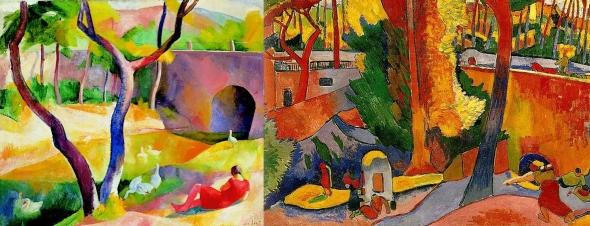 Összevetettem a két festményt (megtükröztem a Patkó festményt, és mellé tettem Derain festményének megfelelő részletét, a jobb oldalon).
